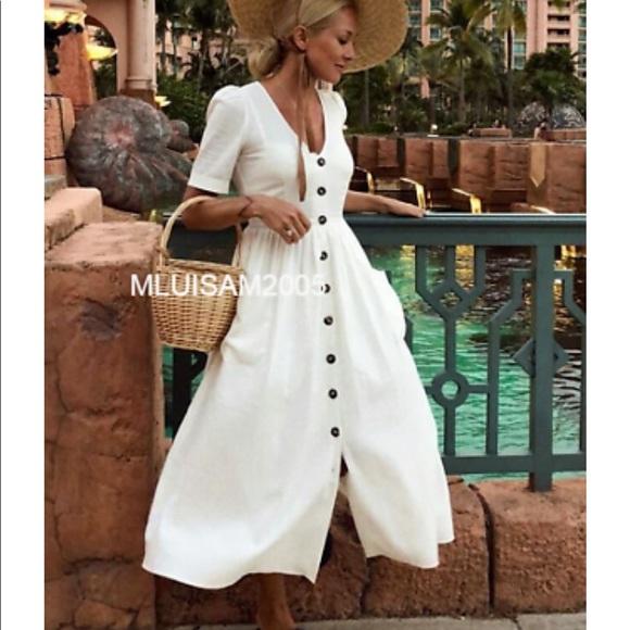 d2aaad70 Zara Dresses | New Linen Button Up Off White Dress Midi | Poshmark